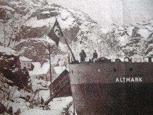 """Mercante alemán """"Altmark"""" refugiado  en el fiordo noruego de Joessing"""